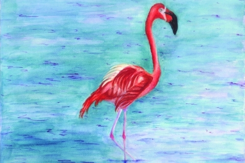 Flamingo Cape May Zoo #77841 12x16 watercolor